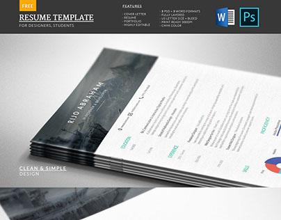 Modern Free Resume Template | PSD & WORD