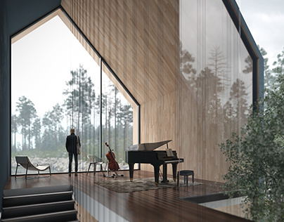 The foggy lake house's interiors