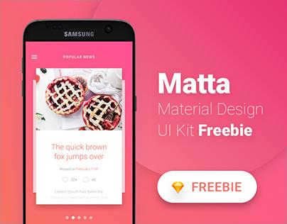 Matta - Material Design Mobile UI Kit - Freebie