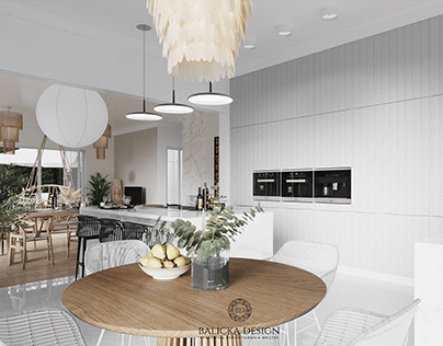 Bright modernist kitchen with nature elements