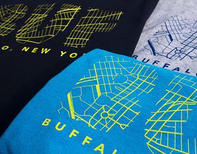 ADDY Award Winning Buffalo Map Screen Printed T-Shirt