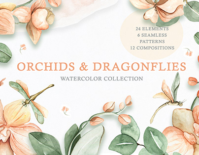 Watercolor Collection of Orchids and Dragonflies