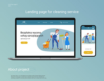 Landing page for cleaning service