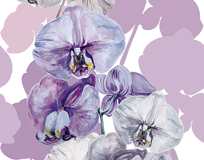 Watercolor orchids - designs for textile and interior