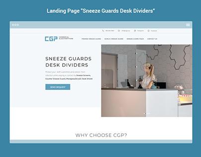 "Landing Page ""Sneeze Guards Desk Dividers"""