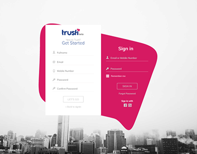 Trusfi Login page Created by me