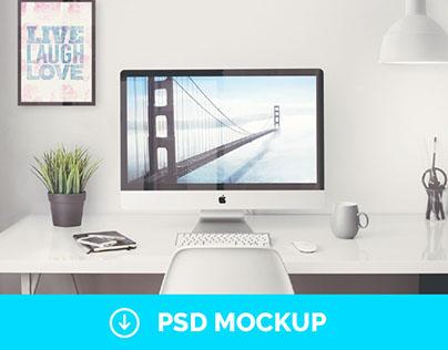 "Free iMac 5K Retina 27"" Office   PSD Mockup"