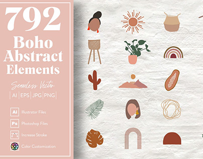 Boho Abstract Elements