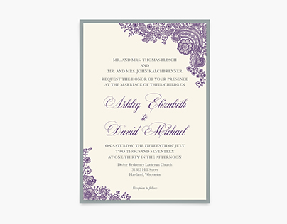 Wedding Invitation: Ashley + David