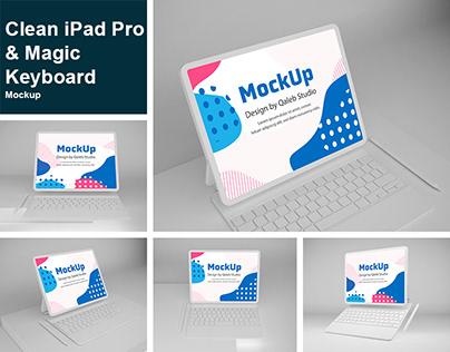 Clean iPad Pro & Magic Keyboard Mockup