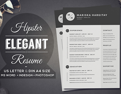 2 Pages Hipster Elegant Resume CV Set