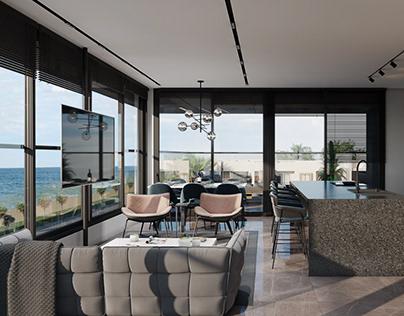 Интерьер квартиры с видом на море