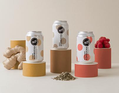 ROY Kombucha branding and packaging