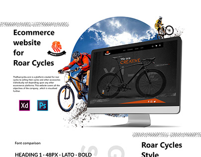 E-commerce website and App design for Roar cycles   UI