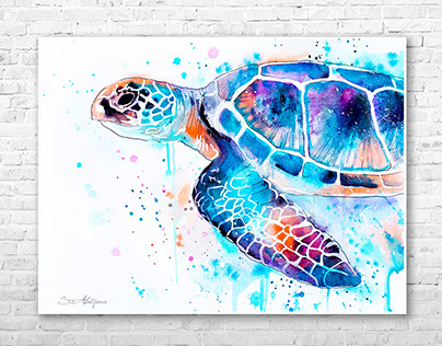 Sea turtle watercolor painting by Slaveika Aladjova