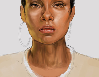 ebony girl realistic potrait