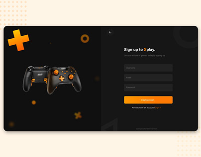 Sign up page design for gamers community