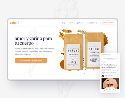 e-comerce and blog web design · cafune superfoods