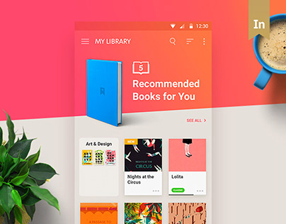Reader Mobile App, UI, UX, Animation