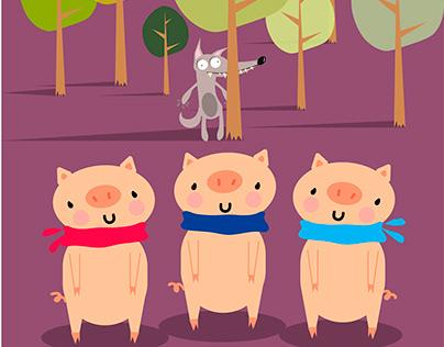 Анимация, посвященная сказке ‹Три поросенка›.