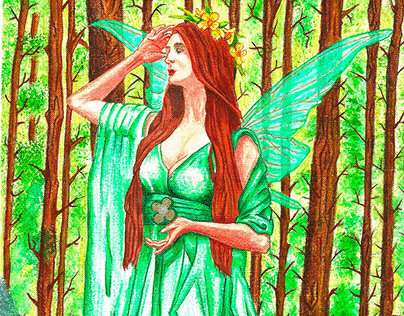Forest Green Fairy: Original A4 Artwork