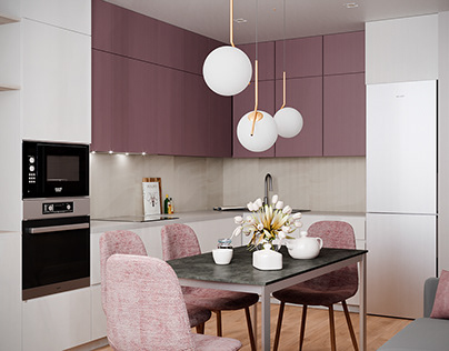 dusty rose, apartment for a girl of 70 sq.m