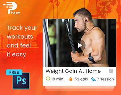 P-feet - A fitness mobile app UI Design PSD