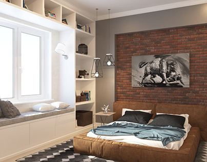 Bedroom design in the loft style