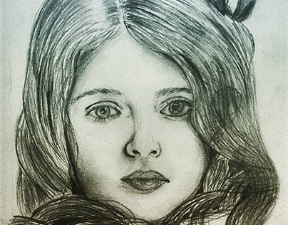 Portrait cute girl by pencil and shadding