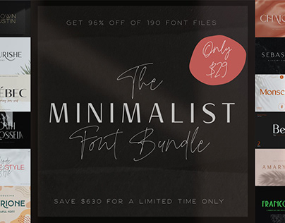 THE MINIMALIST FONT BUNDLE - 96% OFF!