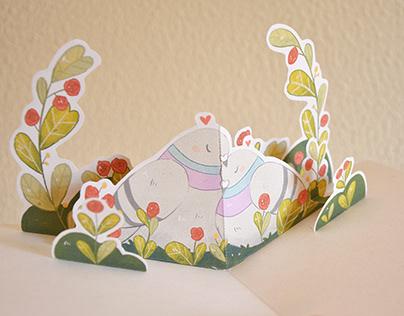 Valentine's Day Pigeons Pop Up Card
