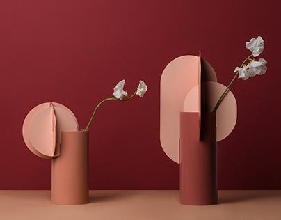 Modern Metal Vase Ekster by Noom in Copper and Steel
