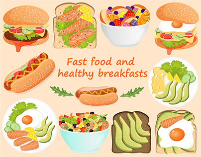 Illustrations of fast food and healthy breakfasts