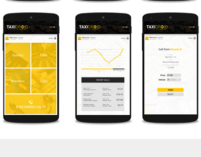 Taxi App Interface Design - TAXIDROID