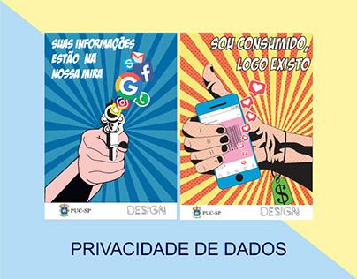 Cartazes Pop Art- Privacidade de Dados