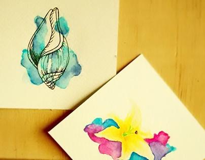 Caracola Azul y Flor Concador