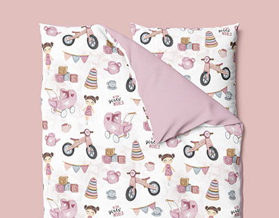 Retro Girls' World - watercolor textile pattern