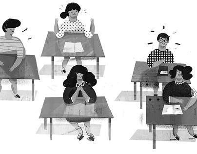 In school, illustration for book