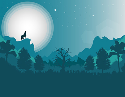Vector illustration of a landscape with wolf
