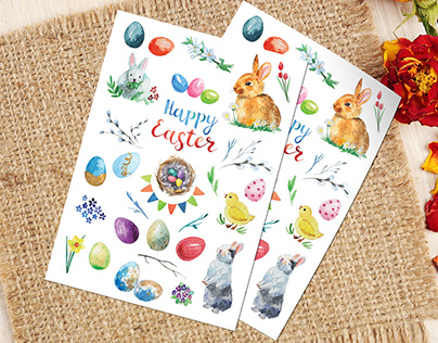 Watercolor stickers set