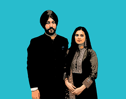 Digital painting of couple