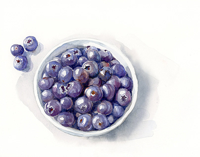 Blueberry Bowl - Watercolor on Hot press 140lb paper