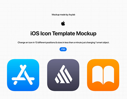 iOS Icon Template Mockup - PSD