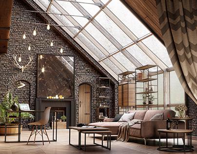 Industrial Slanted Living Room