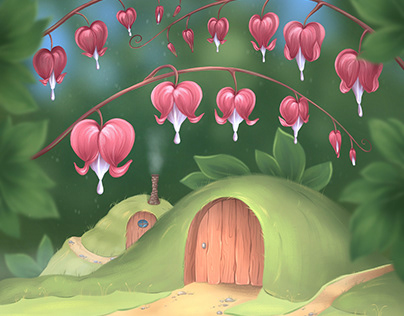 """Illustration """"The secret of Dicentra and small house"""""""