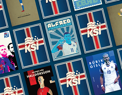 Football cards in 6 different design periods - ICELAND