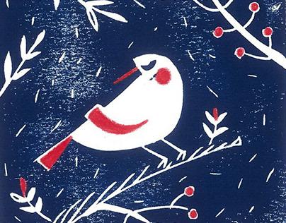 Merry Christmas - Linoleum card