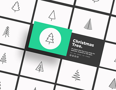 Christmas Tree | 16 Thin Line Icons Set