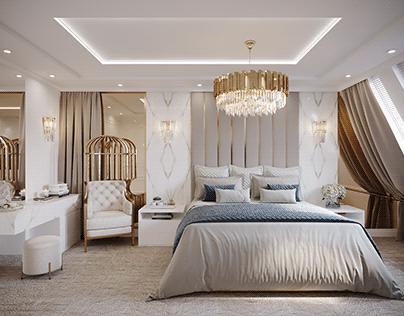 Rich Beige Bedroom & Bathroom