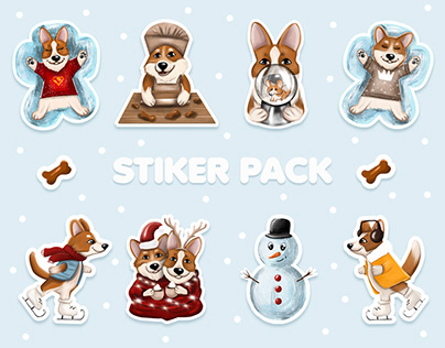 Christmas stickers with corgi